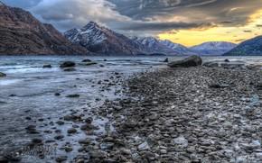 tramonto, lago, Montagne, costa, pietre, paesaggio