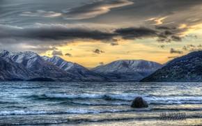 sunset, lake, Mountains, landscape