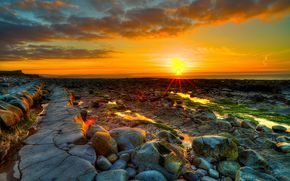 sunset, sea, stones, rocks, landscape
