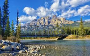banff national park, alberta, canada, castle junction bridge, bow river, castle mountain, Банф, Альберта, Канада, река, мост, горы, камни, деревья