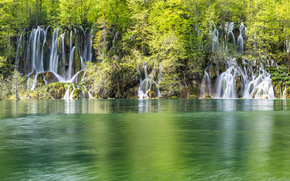 nature, waterfalls, lake, forest, Croatia