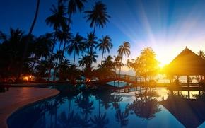 sunrise, thailand, paradise, trees, seawater, palms, bridge, nature, Sunrise, thailand, paradise, Trees, sea water, Palms, bridge, nature