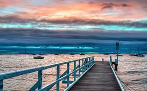 sunset, sea, bridge, landscape