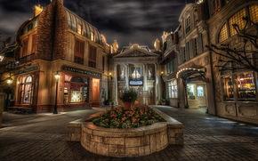 Stati Uniti d'America, Disneyland, casa, Francia, padiglione, notte, strada