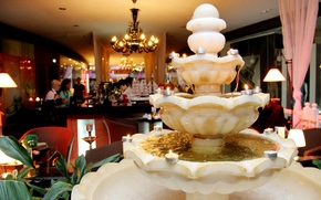 fountain, design, Candles, water, marble, chandelier, party, restaurant