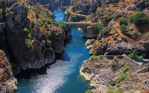 река, горы, скалы, мост, арка, пейзаж