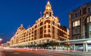 Harrods, Londres, Inglaterra, Gran Bretaa, Londres, Inglaterra, Reino Unido, edificio, grandes almacenes, iluminacin, noche, luces, carretera, exposicin