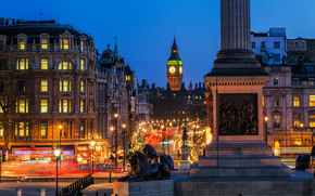 Londres, Londres, whitehall, Whitehall, calle, carretera, Trafalgar Square, Trafalgar Square, Columna de Nelson, Columna de Nelson, Big Ben, Big Ben, Inglaterra, Inglaterra, Gran Bretaa, Reino Unido, Ciudad, noche, luces, exposicin, luces, edificio, arqui