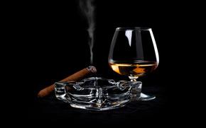 goblet, cigar, ashtray