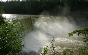 waterfall, river, Trees