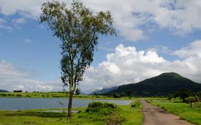 road, sky, Mountains, pond, landscape