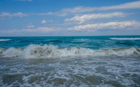 sea, waves, sky, landscape