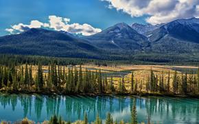 bow river, alberta, canada, река Боу, Альберта, Канада, горы, долина, деревья