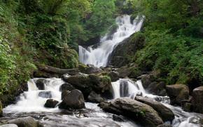 водопад, камни, деревья, пейзаж