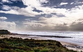 filipe rodrigues, sea, waves, beach, clouds