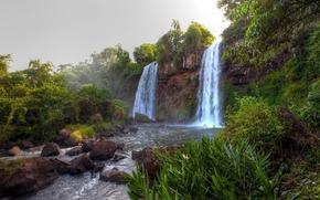 водопады, река, пейзаж