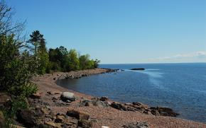 море, берег, небо, пейзаж