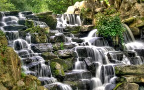 waterfall, stones, rocks, landscape