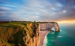 Francia, Normanda, playa, rocas, arco, mar, tarde