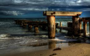море, мост, берег, пейзаж