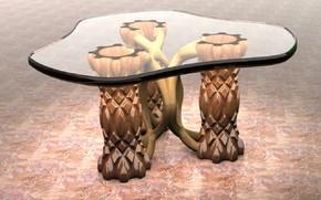 Мебель, дерево, стекло, стол, дизайн