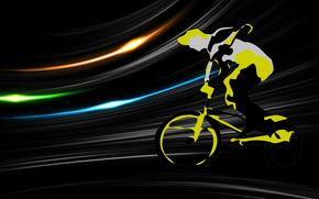 sport, grafika, wektor, rowerzysta, rower