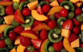 fruit, Berries, strawberry, kiwi, grapes