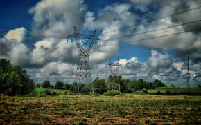field, Pillars, Wire, clouds, landscape