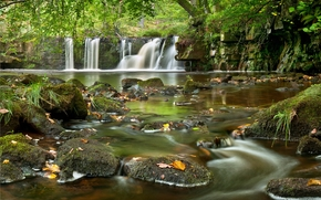 waterfall, river, stones, landscape