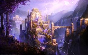 замок, водопады, птицы