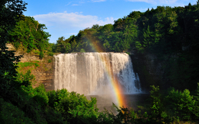 водопад, лес, радуга