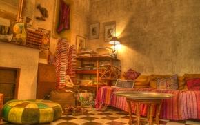 habitacin, sof, mesa, lmpara, interior