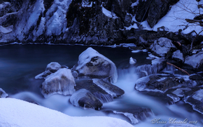 river, flow, stones, ice