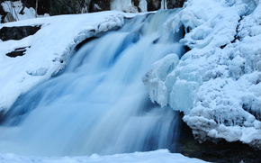 waterfall, flow, ice