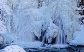 cascata, ruscello, fiume, ghiaccio