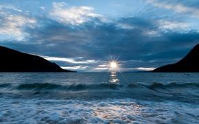 lake, Baikal, sunset, surf