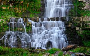waterfall, flow, rocks, landscape