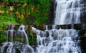 водопад, скалы, мох, пейзаж