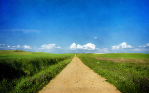 road, grass, summer, sunny, sky, clouds