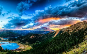 Sonnenuntergang, Gebirge, See, Landschaft
