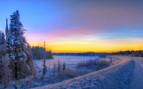 panorama, tramonto, strada, inverno, paesaggio