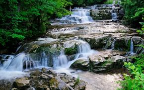 waterfalls, river, rolls, landscape