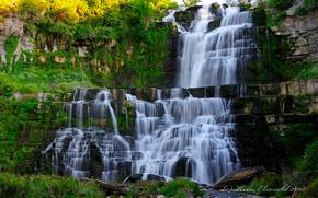 водопад, скалы, пейзаж