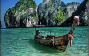 море, лодка, скалы, пейзаж