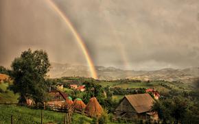 дома, тучи, радуга, пейзаж