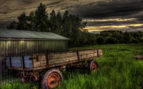 Sonnenuntergang, Feld, Wagen, Gras, Landschaft