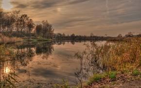 otoo, lago, puesta del sol, paisaje