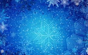 снежинки, узоры, синий, фон, текстуры