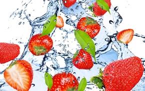 fragola, Rosso, acqua, gocce, spruzzo, berry, bacca, fragole, rosso, acqua, gocce, spray, freschezza
