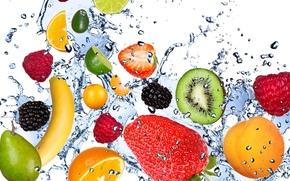 frutta, fresco, acqua, gocce, spruzzo, avocado, limone, albicocca, kiwi, mora, lampone, fragola, banana, calce, menta, frutta, freschezza, acqua, gocce, spray, avocado, limone, albicocca, kiwi, mora, lamponi, fragole, banana, calce, menta